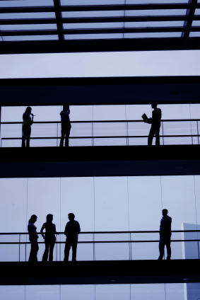 Business being conducted in a corporate building