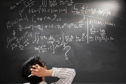 Hand written accounting formulas illustration